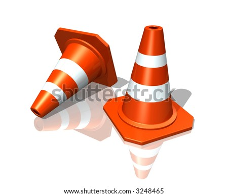 Traffic cones over white reflective background
