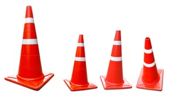 Traffic cones plastic isolated on white background with clipping path.