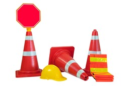 Traffic cones , protective cap , traffic clothing and traffic signs isolated on white background.