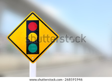 Traffic control signals and blur bridge background #268591946