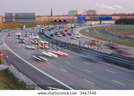 traffic during rush hour on autobahn in Munich, Germany - stock photo