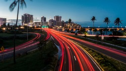 Traffic entering the capital of Puerto Rico at night.
