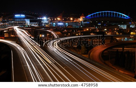 Traffic Flow in Seattle - stock photo