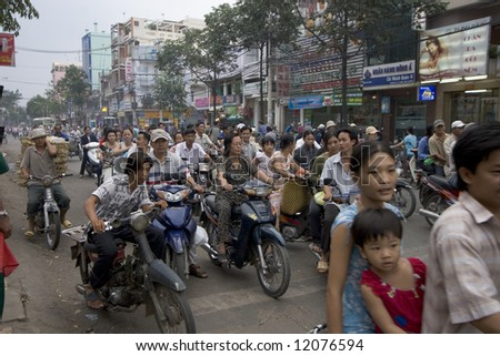 Traffic hell Saigon, Vietnam - stock photo