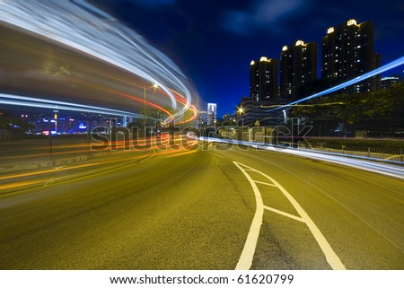 traffic highway in Hong Kong at night . - stock photo