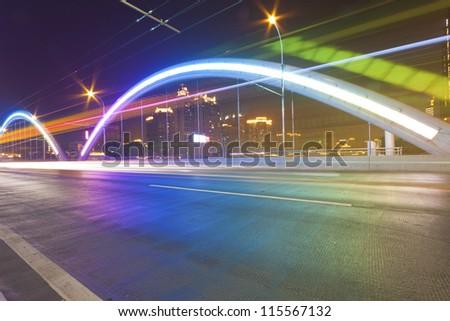 Traffic in bridge of Guangzhou, China.
