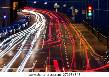 traffic in city at night, symbol of traffic, congestion, air pollution