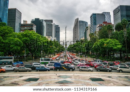 Traffic in Downtown Mexico City, Mexico
