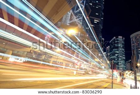 traffic in finance urban at night
