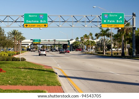 Traffic in Florida / Highway 95 sign