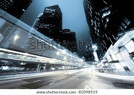 traffic in Hong Kong at night