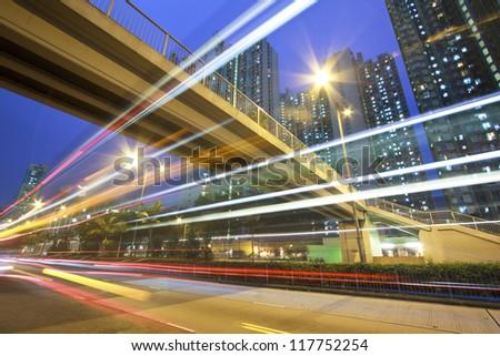 Traffic in Hong Kong downtown at night