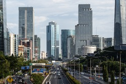 Traffic in Jakarta modern business district in Indonesia capita clty, a major financial center in Southeast Asia.