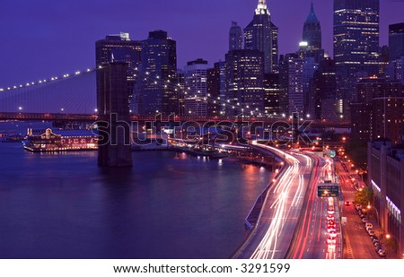 Traffic in Manhattan (Long exposure leading to trail of lights)