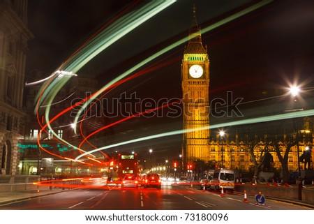 Traffic in night London, UK