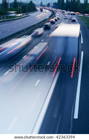 Traffic in rush hour on the motorway