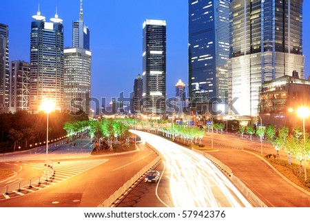 traffic in shanghai at night - stock photo