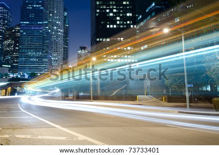 Traffic in the city seen as trails of light