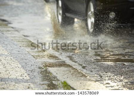 Traffic in the heavy rain - Prague