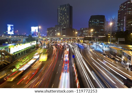Traffic jam at night in Hong Kong