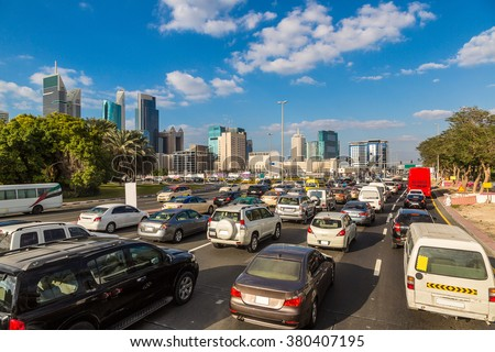 Traffic jam at Sheikh Zayed Road in Dubai in a summer day