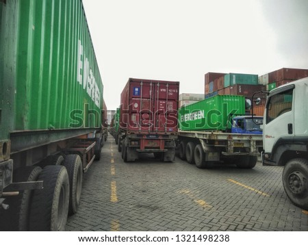 traffic jam at the container terminal port, Surabaya, East Java Indonesia February 22, 2019 #1321498238