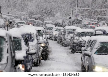 Traffic jam caused by heavy snowfall #181434689