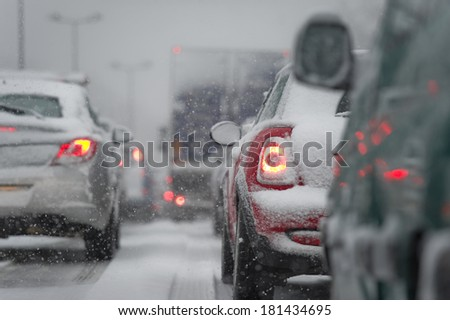 Traffic jam caused by heavy snowfall #181434695