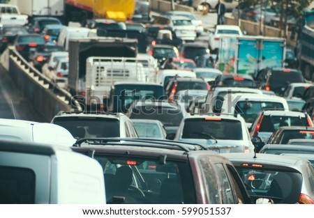 Traffic jam collapse, cars on highway #599051537