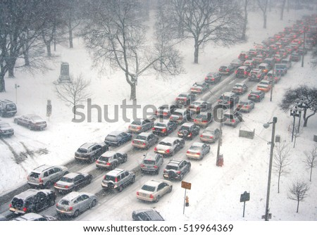 traffic jam in a snow storm