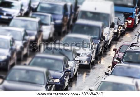Traffic jam in Hamburg, Germany