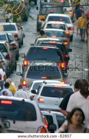 Traffic jam in Old San Juan Foto stock ©