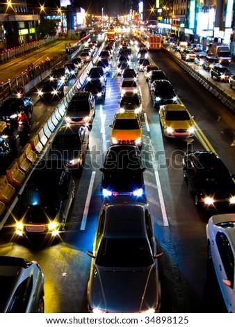 Traffic jam in the night of Taipei