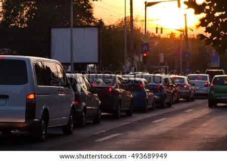 Traffic jam in the sunset #493689949