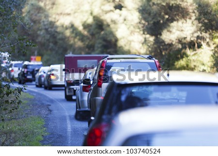 Traffic jam on Australian highway due to road works.