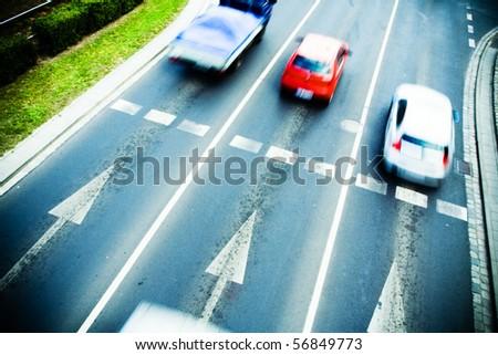Traffic jam on city street, motion blur