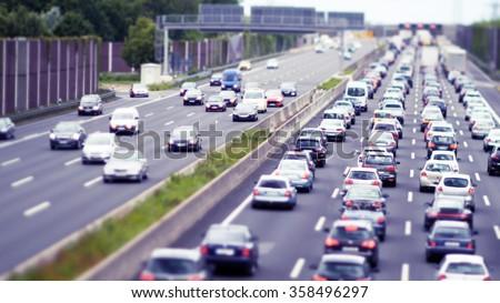 Traffic Jam on German highway, cool grading