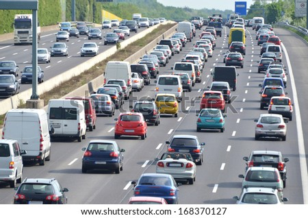 traffic jam on german highway. Current discussion about toll collect for foreign cars due to the claim of bavarias prime minister Horst Seehofer