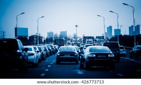 traffic jam on highway,shanghai china.blue toned image.