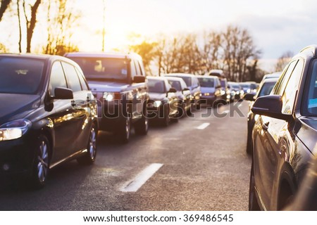 traffic jam on the highway, cars stopped on the road