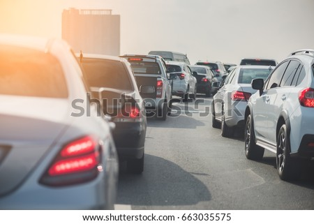 traffic jam on toll way with row of cars, rush hour, vintage style process #663035575