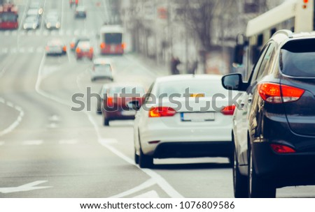 Traffic jam on urban street in city #1076809586