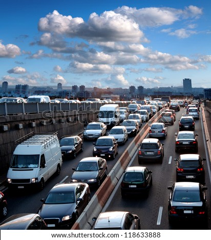 Traffic jam. Rush hour. Cars. Urban scene.