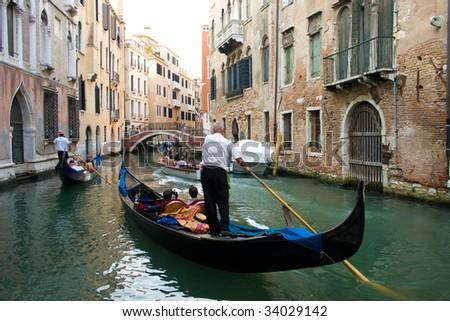 Traffic jam with gondolas in Venice, Italy