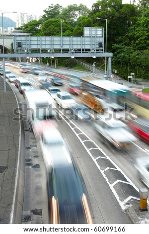 traffic jam with motion blur