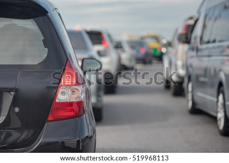 traffic jam with row of car on express way