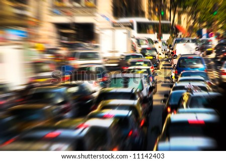 Traffic jam. Zoom blur effect.