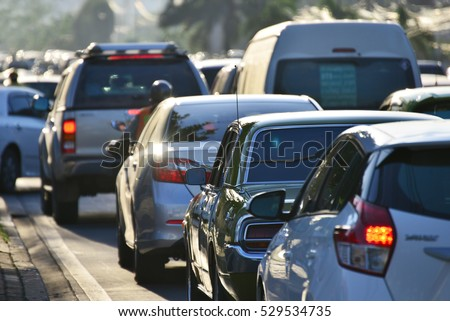 traffic jams in the city, road, rush hour