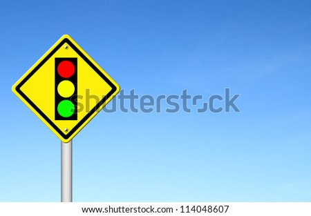 Traffic light ahead warning sign with blue sky background blank for text #114048607