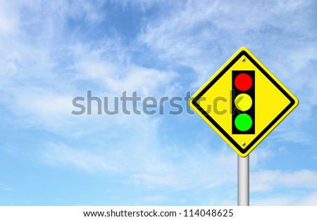 Traffic light ahead warning sign with blue sky background blank for text #114048625